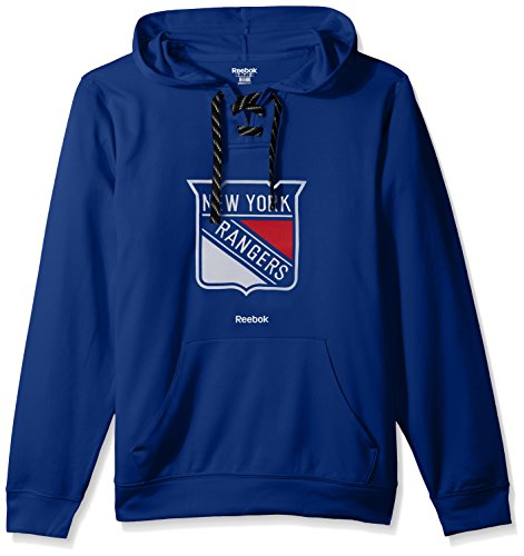 fan products of NHL New York Rangers Adult Men Team Crest Performance Fleece Hockey Hood,Large,Blue