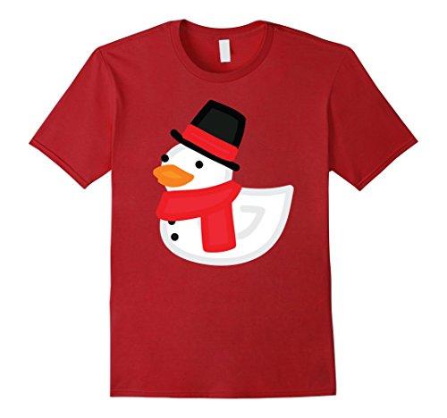 Rubber Duck Costume Ideas (Mens Christmas Duck Shirt - Funny Rubber Snowman Duckling T-Shirt 3XL Cranberry)