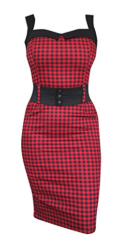Switchblade Stilleto Women's Darling Dress (Multiple Styles) (Medium, Red Gingham) Belted Stretch Twill Dress
