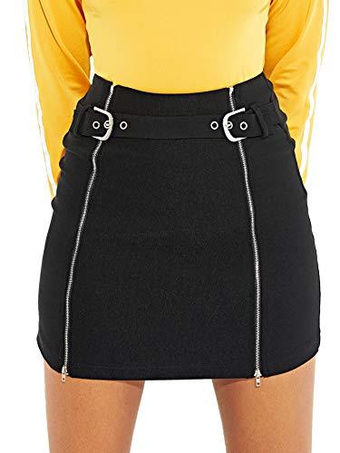 WDIRARA Women's Sexy Summer High Waist Bodycon Mini Zip Up Skirt Black L ()