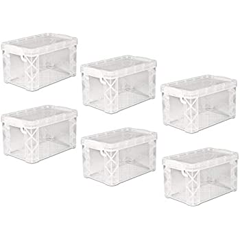 4 X 6 Inches Stackable Clear Plastic Index Card Box For Storing Photos Ribbons