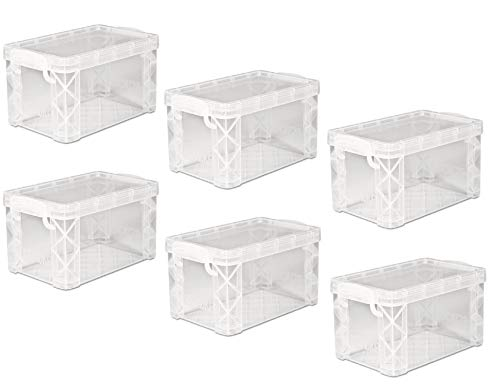 Plastic Stacker - Advantus Super Stacker Storage Boxes, Hold 400 3 x 5 Cards, Plastic, Clear, 6 Boxes