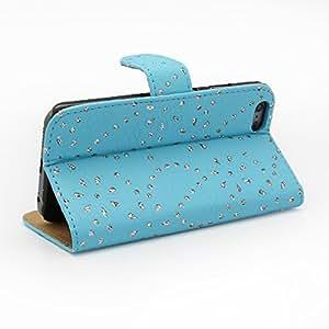 """Moda Rhinestones plegable Flip caso cubierta de piel Protector cartera tarjetas del soporte para el iPhone 6 4,7""""- cielo azul"""