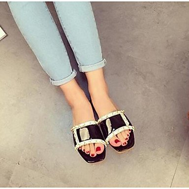 verano plana EU39 CN39 Las de sandalias US8 PU mujeres tacón blanco negro exterior UK6 nnqYxIB