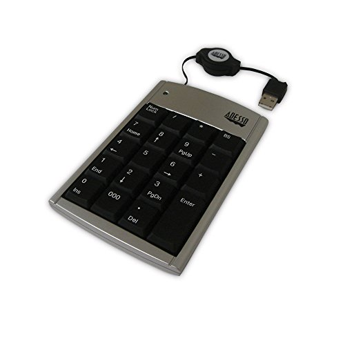 - Adesso 19 Key Numeric Keypad with Retractable Cord - USB (AKP-150)