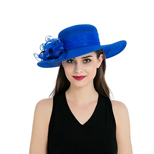 - Dantiya Womens Organza Wide Brim Floral Feather Ribbon Kentucky Derby Church Dress Sun Hat, Blue Free