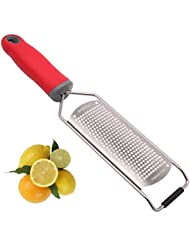 Baroyal Fine Lemon Zester & Cheese Grater – Sharp Stainless Steel Blade – Easy To Use On Parmesan, Citrus, Ginger, Garlic, Nutmeg, Food, Coconut, Chocolate – Soft Red Handle – Plus Safety Cover