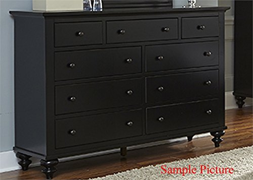 Liberty Furniture Hamilton III Bedroom 9-Drawer Dresser, Black Finish - Arched Crown Headboard