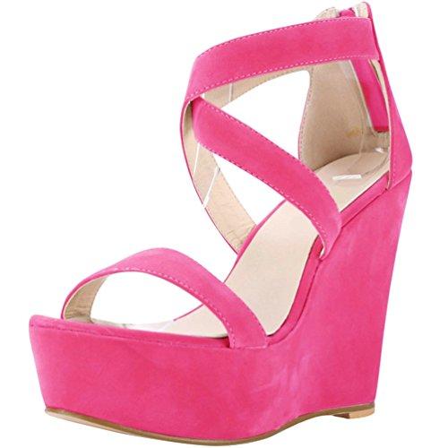 Été WanYang Femme Sandales Mode Compensé Sandale Talon Plateforme Corde Femme Chaussure Des Rose Plateforme FwqB4Cvw