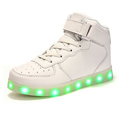luckfugui Kids Christmas Toddler Boy Girl LED Lights UP Shoes 11 Colors High Top Flashing Sneakers Cool Light, Hiphop Shoes,Street Dance Shoes White2