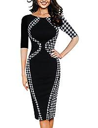 OKLICH Women's Wear to Work Casual Round Neck Fitted Waist Business Pencil Dress
