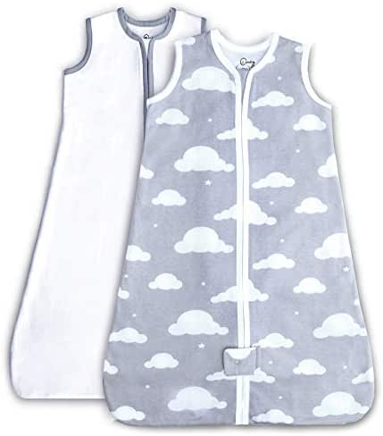 Cambria Baby 2 Pack Organic Cotton Sleep Sack for Boy or Girl, Gray Cloud/White