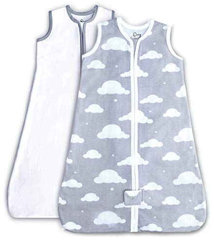 2 Pack Organic Cotton Wearable Blanket, Sleep Sack for Boy or Girl, Gray Cloud/White 0-6 Mo (Small)