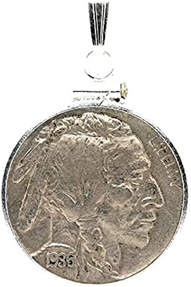 1913-S Buffalo Nickel Kingman Turquoise great condition round shape sterling silver pendant necklace