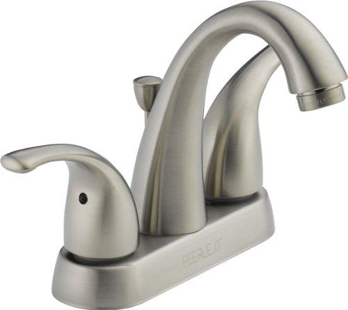 Peerless Tunbridge 2-Handle Centerset Bathroom Faucet with Pop-Up Drain Assembly, Brushed Nickel P299695LF-BN ()