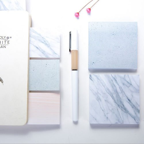 Artlalic 2 X Sticky Note Block Marble [L] Note Memo Pad 75 Sheets School Office ()