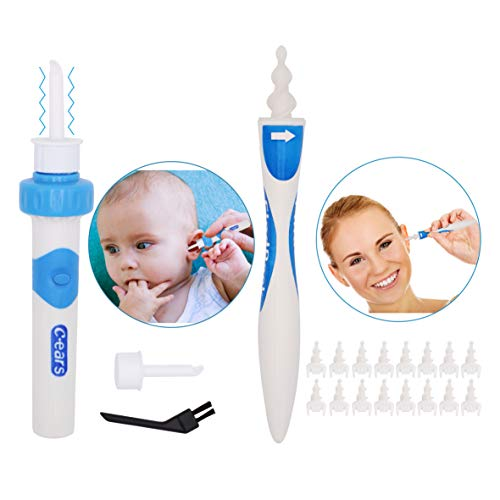 Portable Automatic Electric Vacuum Ear Wax Earwax Removal Tool Kit & Smart Ear Cleaner Spiral Earwax Remover Swab Kit - Clean Tools Set for Adults Kids