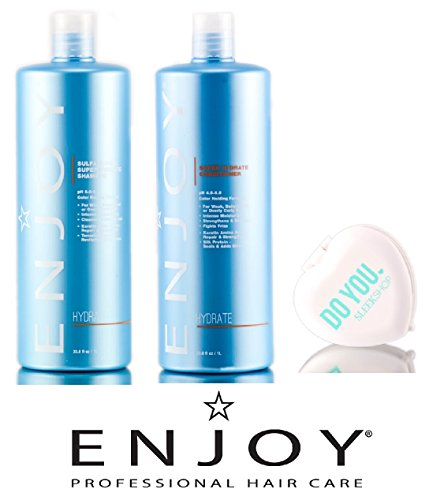Enjoy Sulfate-Free SUPER Hydrate Shampoo & Conditioner DUO Set (with Sleek Compact Mirror) (33.8 oz / 1000ml Large Liter Kit) by Enjoy