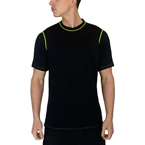 WoolX Men's Basix Tee, Black Citrus, Medium