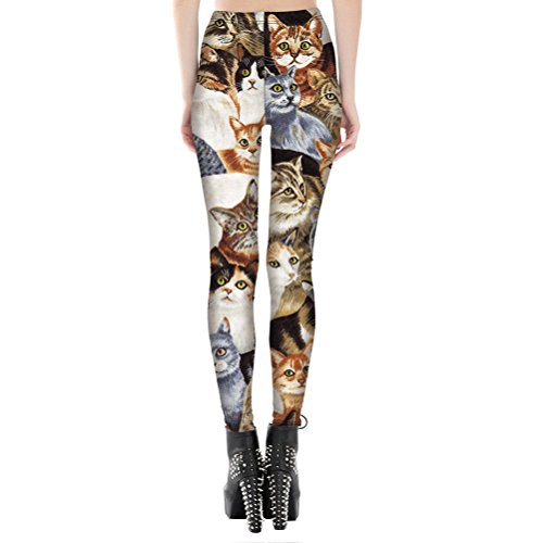 Womens Hot Sale Tigher Printed Yoga High Waist Leggings Pants Plus Size (L, Cute Cat) by Searchself (Image #1)
