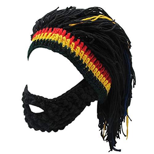 Xinqiao Men's Knit Beard Hats Reggae Hair Style Rasta Headgear Beanie Funny Hats (Black) -