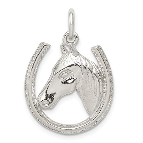 - 925 Sterling Silver Horseshoe Horse Head Pendant Charm Necklace Good Luck Italian Horn Animal Fine Jewelry For Women Gift Set