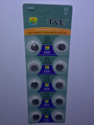 10x-AG-6-Uhrenbatterie-370-371-920-921-fr-Armbanduhr-Knopfzelle