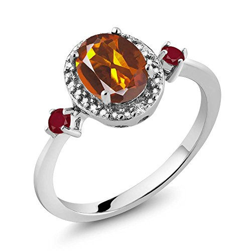 Madeira Citrine Ring (1.35 Ct Oval Orange Red Madeira Citrine Red Ruby 925 Sterling Silver Ring With Accent Diamond)