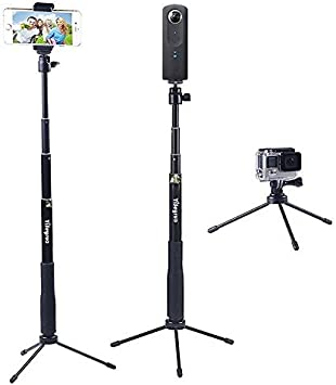 Samsung Gear 360,4K Action Camera YiSeyruo Selfie Stick Extendable Monopod with Tripod Stand for GoPro Hero 8//7//6//5//4//3+//3//2//1//Session DJI Osmo Action Camera Ricoh Theta S,and Cell Phones