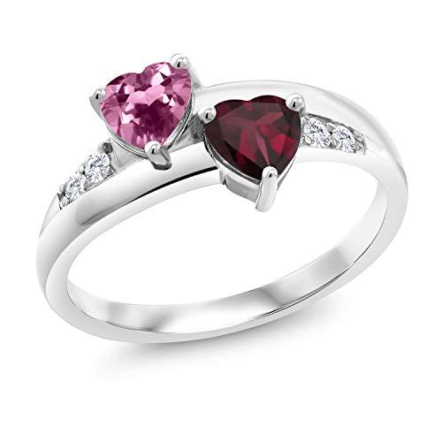 Gem Stone King 1.07 Ct Heart Shape Pink Tourmaline Red Rhodolite Garnet 925 Silver Lab Grown Diamond Ring (Size 7) ()