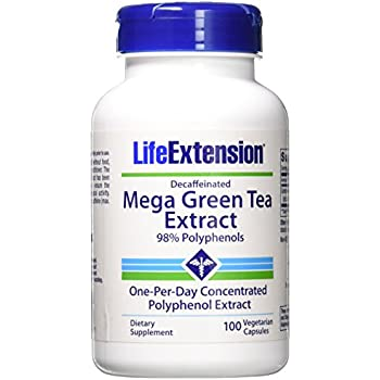 Mega Green Tea Extract Decaf. 100 VegiCaps (Pack of 2)