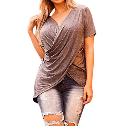 (Beinstinge Women's Casual Short Sleeve Shirts Deep V-Neck Twisted Pleated Chiffon Loose Tunic T-Shirts Blouse Tops Brown)