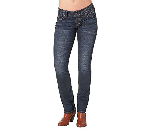 Co Stretch Denim Button Front (Silver Jeans Co. Elyse Mid Rise Straight Leg Jeans 24)