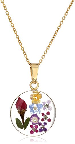 - 14k Gold Over Sterling Silver Multi Pressed Flower Round Pendant Necklace, 16