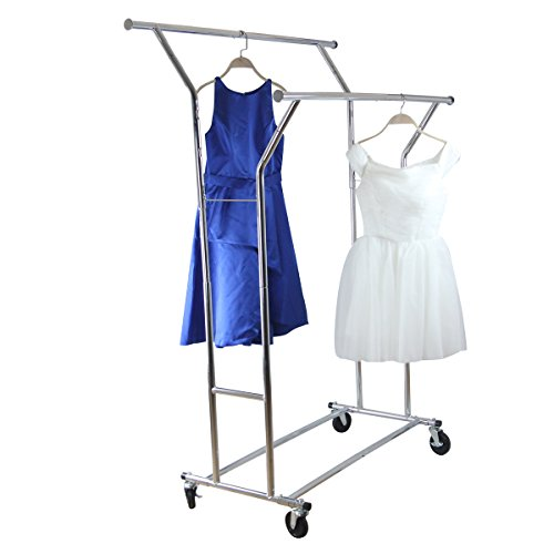 Yontree Chrome Double Rod Garment Clothing Rack with Extenda