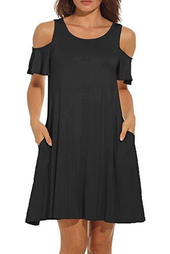 4cc3bd0cec8 GULE GULE Women Open Shoulder Casual Dress Short Sleeve Summer Jersey Cut  Out Cold Shoulder Swing