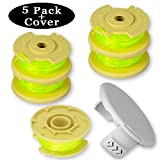 Newjinda [5 Pack+1 Cover] Line String Trimmer Replacement Spool for Ryobi One Plus+ 18V 24V 40V, 11ft 0.080'' Autofeed Weed Eater String, (5 Spool, 1 Trimmer Cap)
