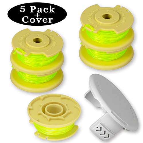Newjinda [5 Pack+1 Cover] Line String Trimmer Replacement Spool for Ryobi One Plus+ 18V 24V 40V, 11ft 0.080 Autofeed Weed Eater String, (5 Spool, 1 Trimmer Cap)