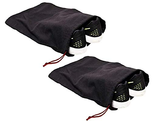 - Earthwise 100% Cotton Shoe Storage Bags For Men/Women with Drawstring in Black. MADE IN THE USA. Great for Travel. Each Black bag holds one pair of shoes. 17