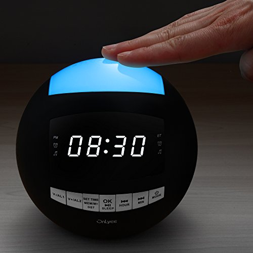 OnLyee Bluetooth Alarm Clock - AM FM Radio, AUX-IN, Speaker, Dimmer, Dual USB Charging Ports, 7-Color LED Night Light - for Heavy Sleeper,Bedrooms, Desk, Kitchen, Kids (Black)
