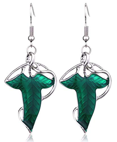 (SAE99 Green Leaf Elven Drop Dangle Fish Hook Earrings)
