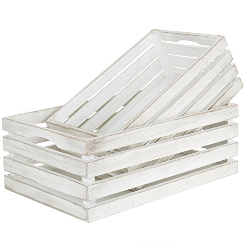 MyGift Vintage Whitewash Wooden Nesting Storage & Accent Crates, Set of - Box Crate