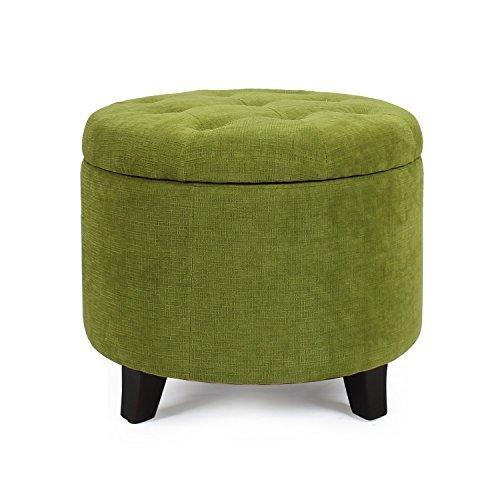 [ELEGAN Round Shape Tufted Fabric Storage Ottoman Chair (Green)] (Tan Green Circles)