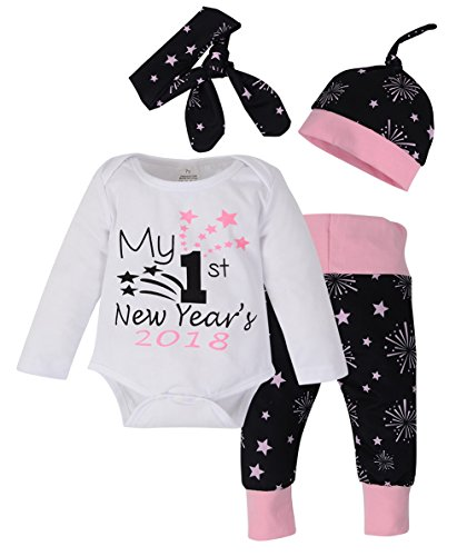 Newborn Baby My First New Year Letter Romper Firework Pants Hat with Headband Outfit size 3-6Months/Tag70 (Black)