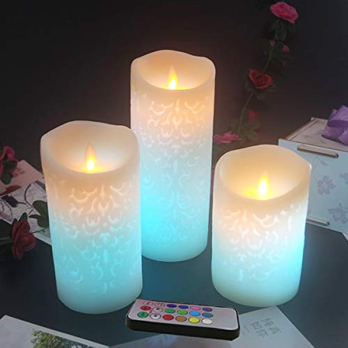 Flameless Candles Battery Operated Pillar Real Wax Flickering Moving Wick Electric LED Candle Sets,Colorful Carved Designs with Remote Control Cycling 24 Hours Timer, 4