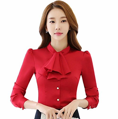Women's Long Sleeve Dresses Shirt Slim Fit Chiffon Blouse Tops Career Fitted Ceremony floral summer cheap collar under winter dressy prime chiffon large spring colors jean church fancy flower (L, Red) by AREBON