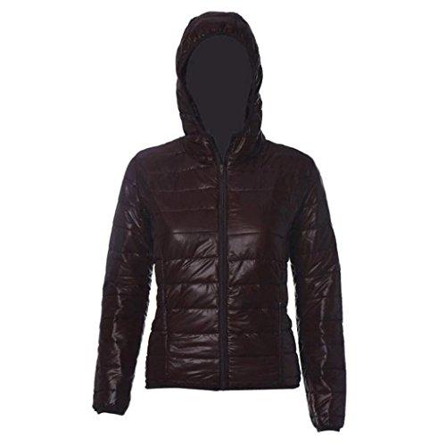 Abrigo de mujer GillBerry Invierno cálido Color del caramelo Delgado Slim Down Jacket Marrón