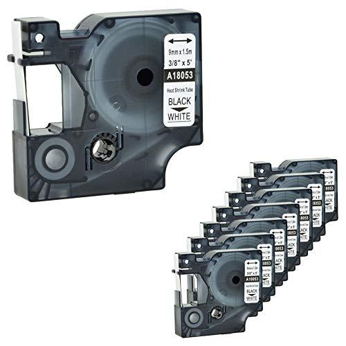 (Nineleaf 8 PK Compatible for DYMO 18053 Rhino Heat Shrink Tube Industry Label Tape 3/8