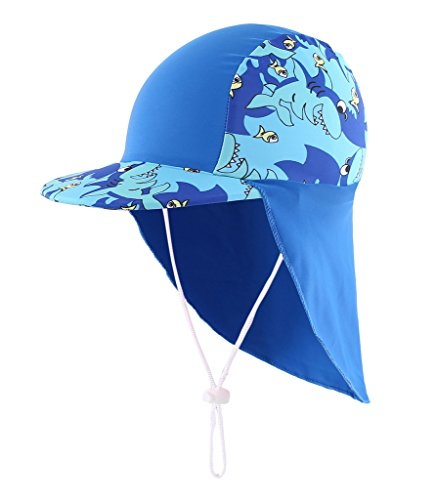 Home Prefer Boys Sun Hat Long Flap Quick Dry Sun Protection Cap with Visor Surf Up Swim Hat Shark