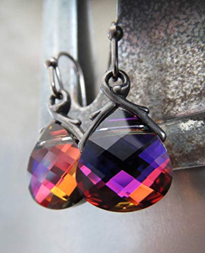 Petite Swarovski Crystal Teardrop Earrings - Multicolor Crystal Earrings in Blue, Violet, Orange, Magenta